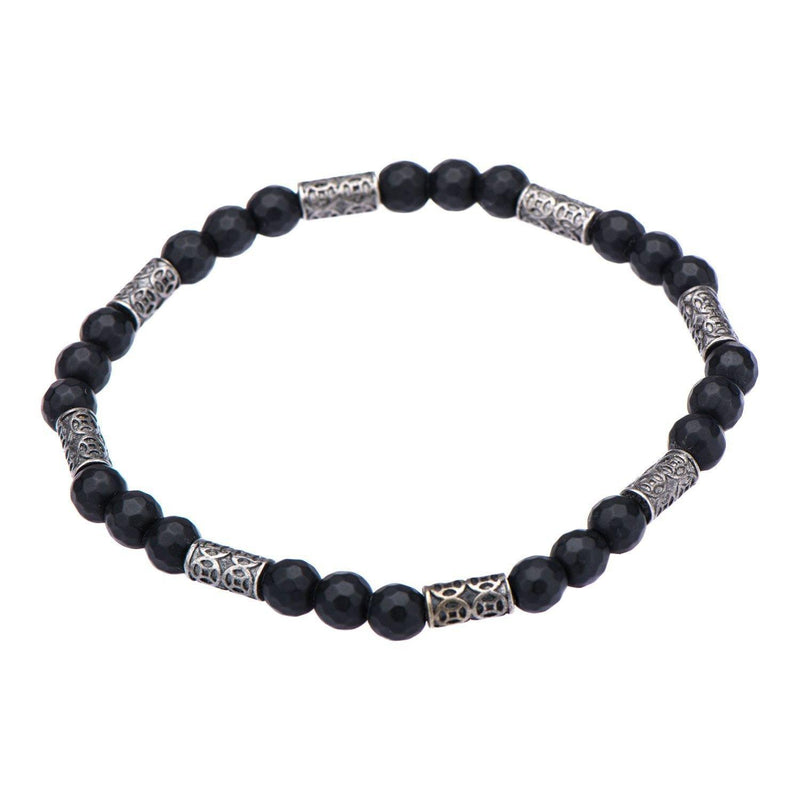 Black Hematite with Antique Steel Beads Bracelet