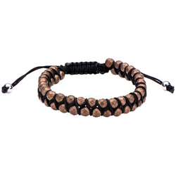 Leather Cord with Brown Hematite Steel Beads Bracelet