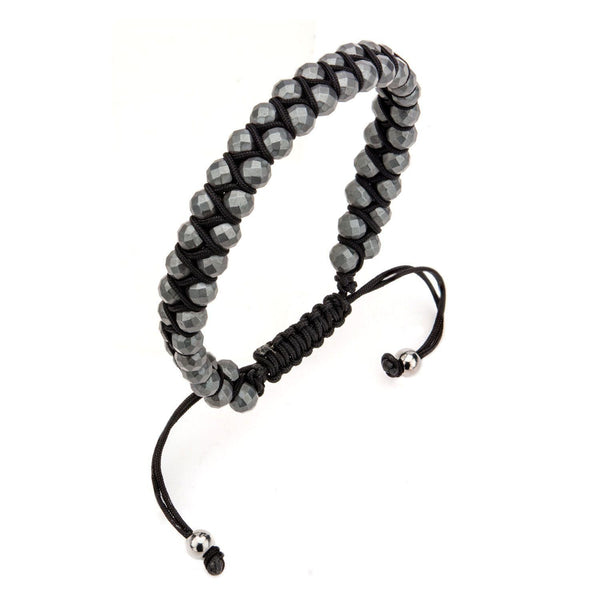 Leather Cord with Grey Hematite Steel Beads Bracelet