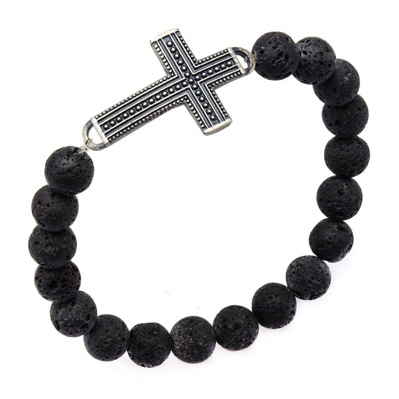 Black Lava Beads and Steel Cross Bracelet