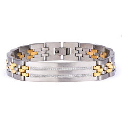 Stainless Steel Two Tone with Clear CZ Stone in Steel ID Panther Link Bracelet