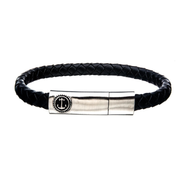 Black Leather with Brushed Steel Clasp Bar Bracelet