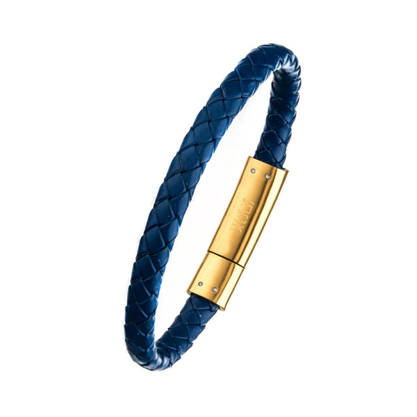 Blue Leather with Brushed Gold IP Clasp Bar Bracelet