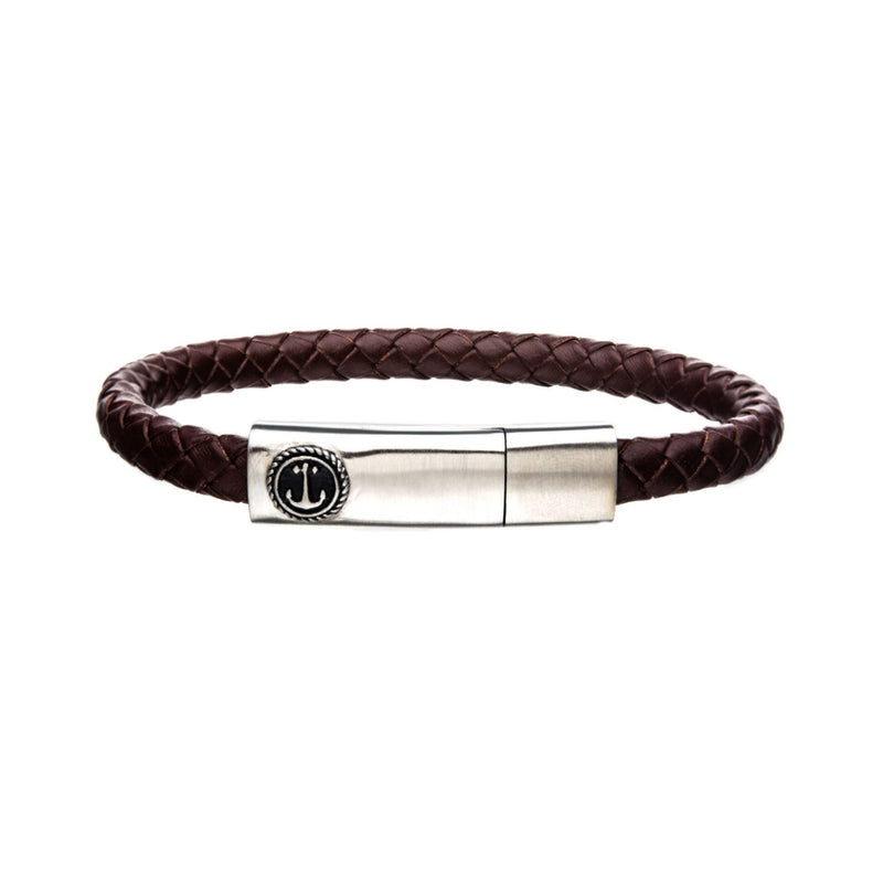 Tan Leather with Brushed Steel Clasp Bar Bracelet