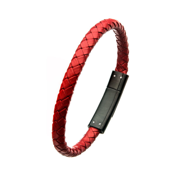 Red Leather with Brushed Black IP Clasp Bar Bracelet