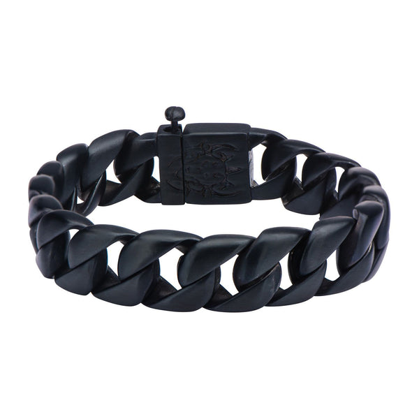 Black IP Curb Chain Bracelet. 8 1/2 inch long