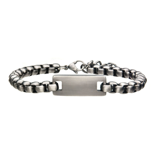 Stainless Steel with Antique White Bronze ID Bracelet