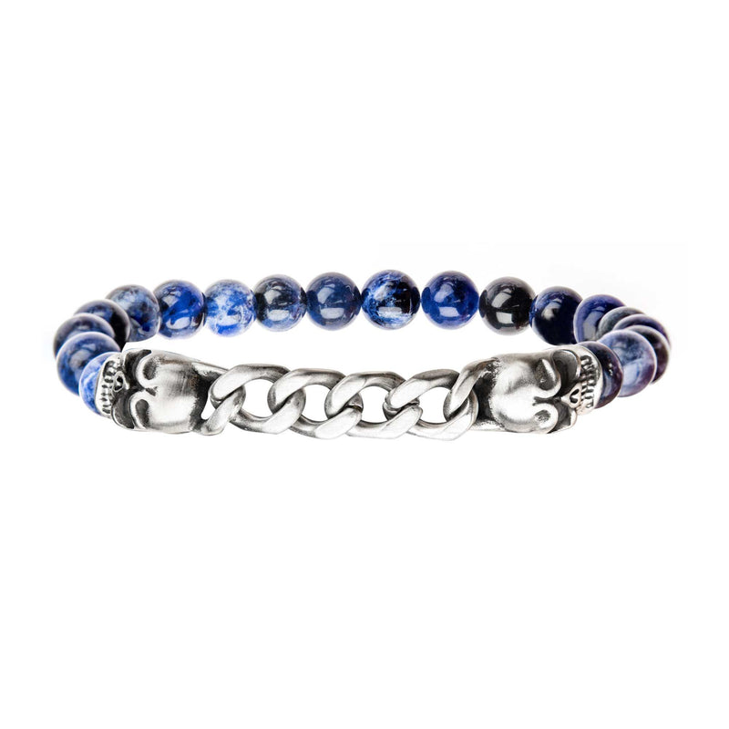 Double Head Steel Skull with chain in Blue Beaded Stretch Bracelet