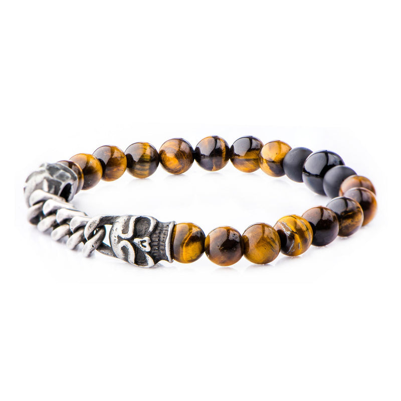 Double Head Steel Skull with chain, Tiger Eye Beaded Stretch Bracelet