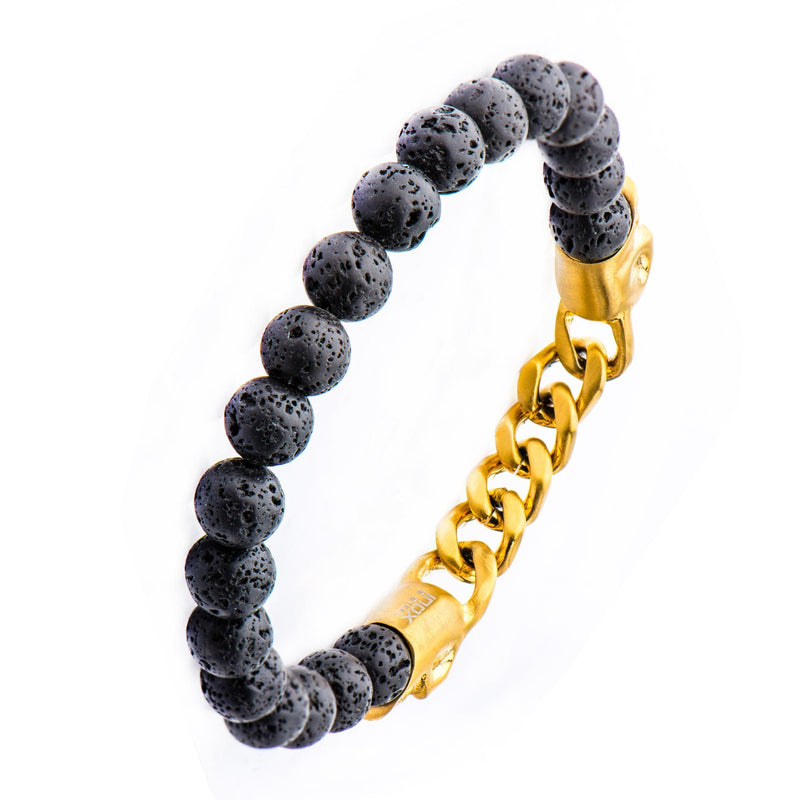 Double Head Gold IP Skull with chain in Black Lava Beaded Stretch Bracelet