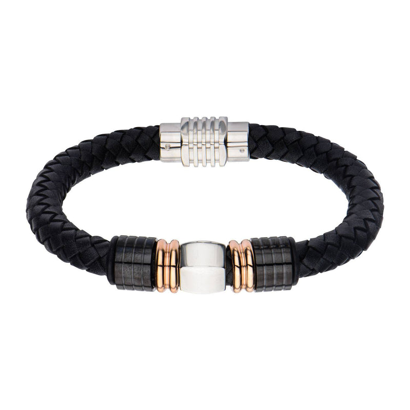 IP Rose Gold & IP Black Bead Leather Bracelet - Bijouterie en ligne - 1