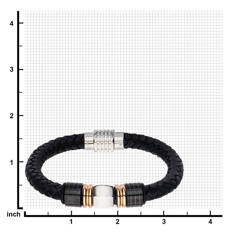 IP Rose Gold & IP Black Bead Leather Bracelet - Bijouterie en ligne - 3