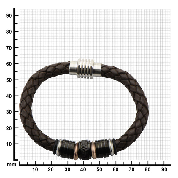 Beads in Brown Braided Leather Bracelet - Bijouterie en ligne - 2