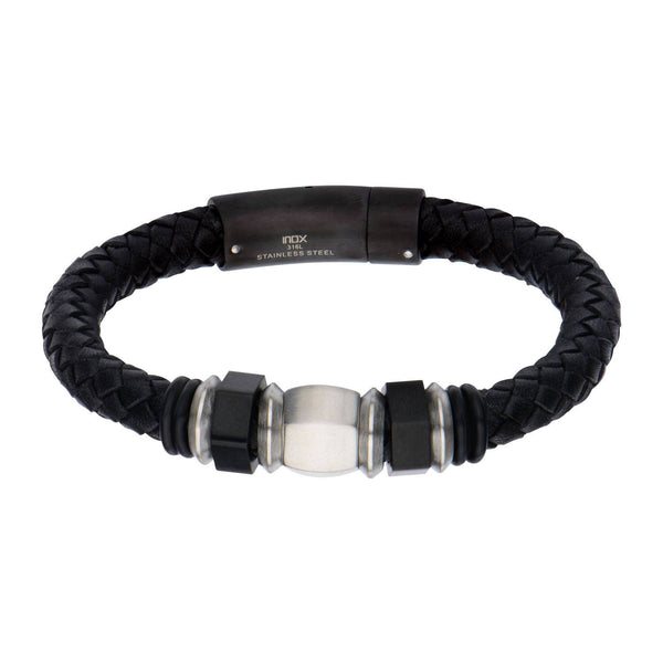 IP Black & Steel Bead Leather Bracelet - Bijouterie en ligne - 1