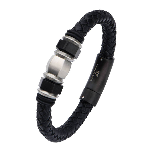 IP Black & Steel Bead Leather Bracelet - Bijouterie en ligne - 2
