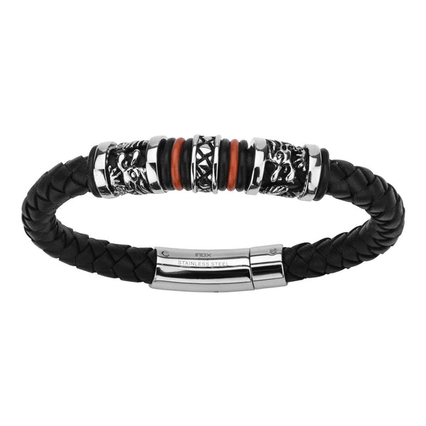 Black Leather with Red Orange Steel Bracelet - Bijouterie en ligne - 2