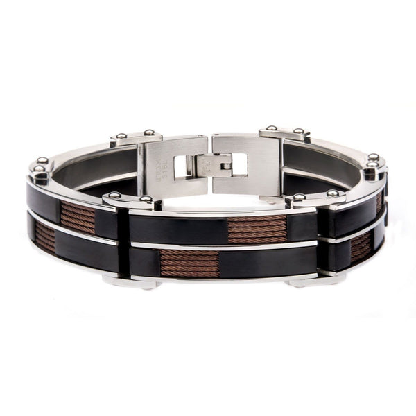 Stainless Steel Alternate Black IP and Inlayed Brown Cable Link Bracelet
