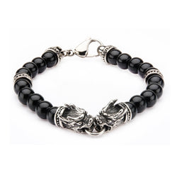 Stainless Steel Dragon Bite and Black Onyx Beads Bracelet
