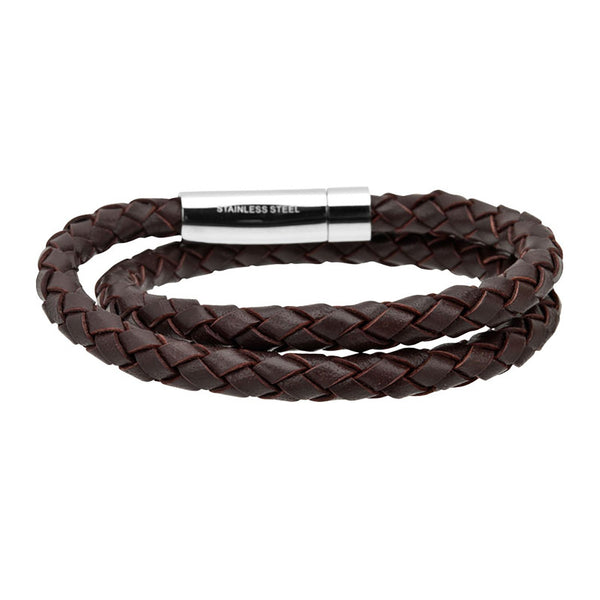 Double Round Genuine Braided Leather Bracelet - Bijouterie en ligne - 1