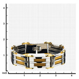 Gold IP & Steel Link with Multiple Gold Cable Inlayed Bracelet - Bijouterie en ligne - 3