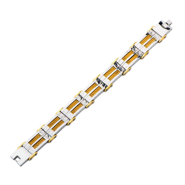 Gold IP & Steel Link with Multiple Gold Cable Inlayed Bracelet - Bijouterie en ligne - 2