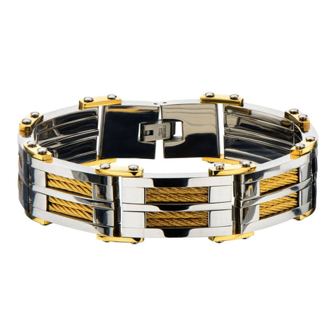 Gold IP & Steel Link with Multiple Gold Cable Inlayed Bracelet - Bijouterie en ligne - 1