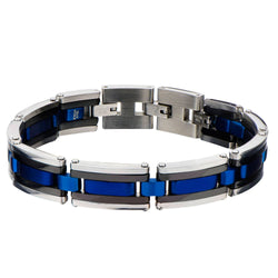 Black, Blue IP & Steel Links Bracelet - Bijouterie en ligne - 1
