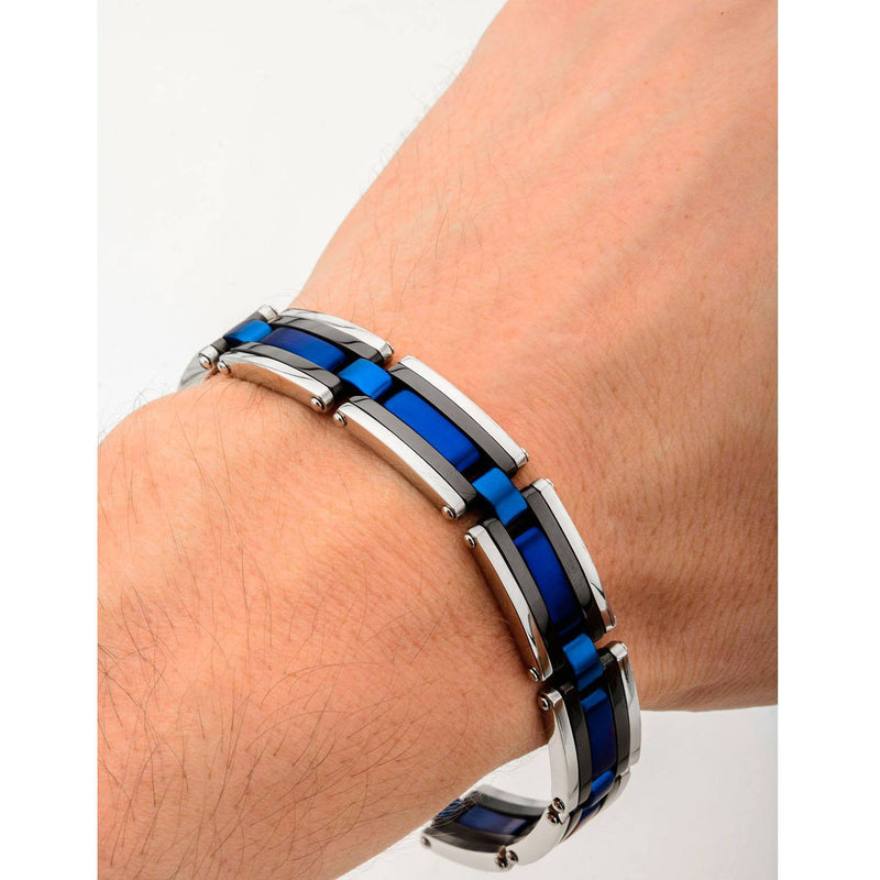 Black, Blue IP & Steel Links Bracelet - Bijouterie en ligne - 4