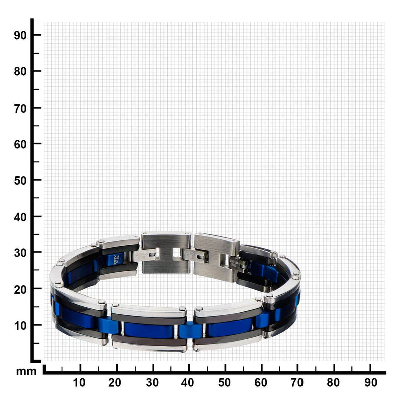 Black, Blue IP & Steel Links Bracelet - Bijouterie en ligne - 3