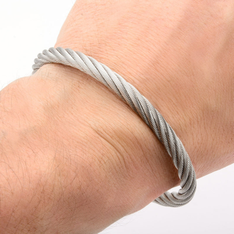 Extra Large Cable Bracelet with Matte Finished Steel Clasp - Bijouterie en ligne - 4
