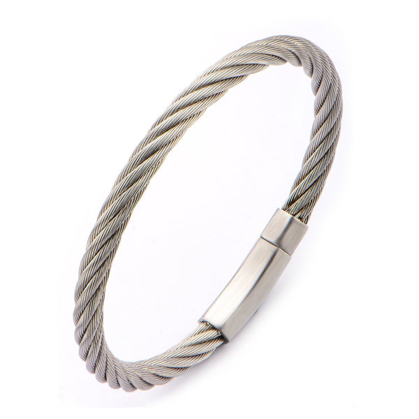 Extra Large Cable Bracelet with Matte Finished Steel Clasp - Bijouterie en ligne - 2