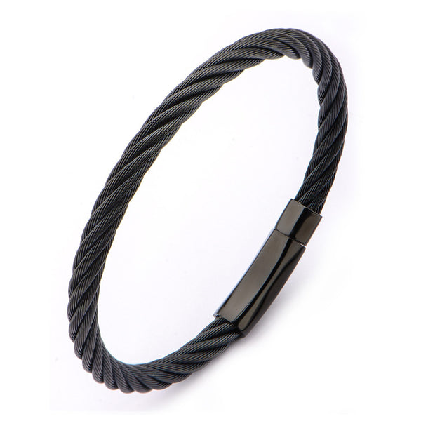 Extra Large Cable Bracelet with Matte Finished Black IP Clasp - Bijouterie en ligne - 2
