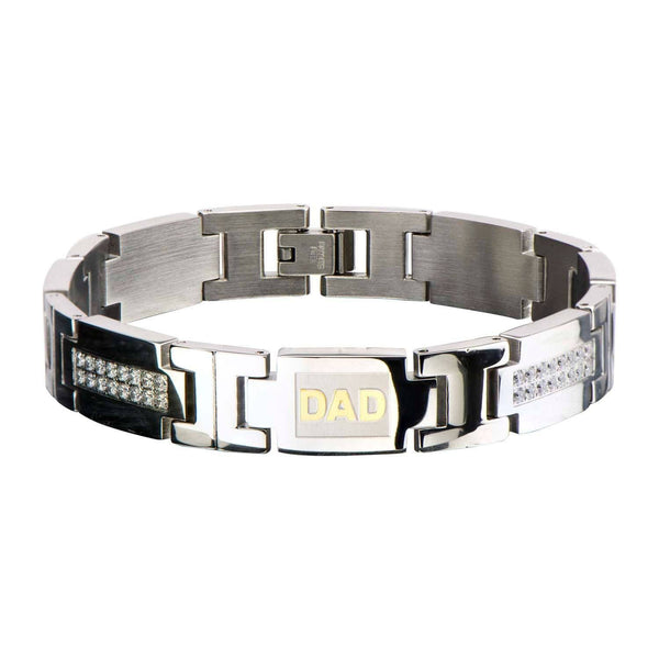 Clear CZ's Bling and Gold IP Engraved DAD Link Bracelet