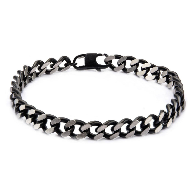 Black IP Diamond Cut Chain Bracelet with Lobster Claw Clasp