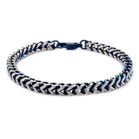 Blue IP Franco Chain Bracelet with Lobster Claw Clasp