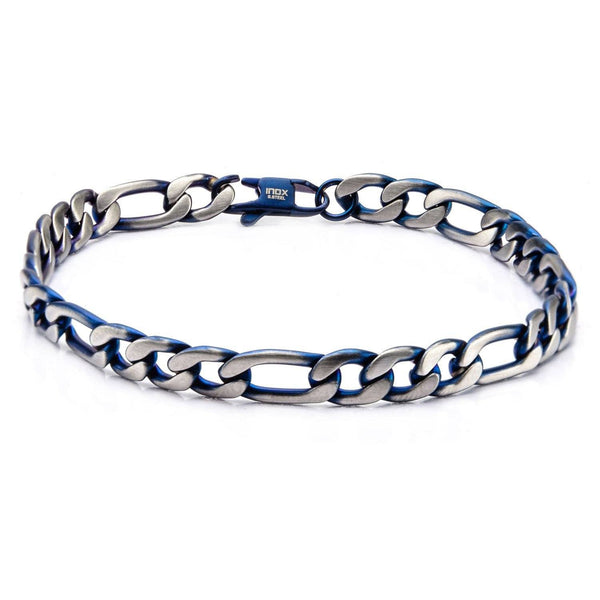 Blue IP Figaro Chain Bracelet with Lobster Claw Clasp