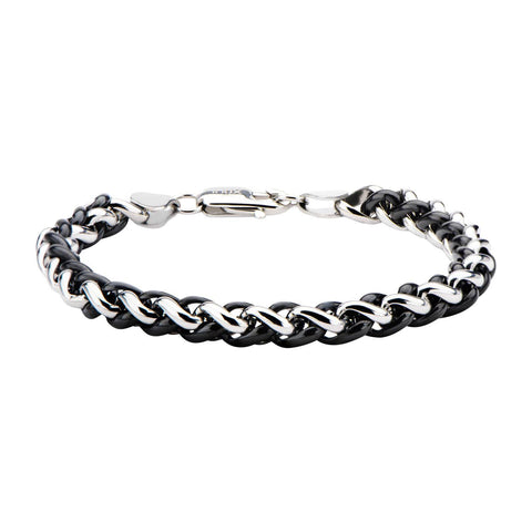 Steel and Black IP Wheat Chain Bracelet - Bijouterie en ligne - 1