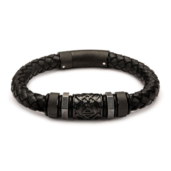 Braided Leather Bracelet with Stainless Steel Black IP Beads