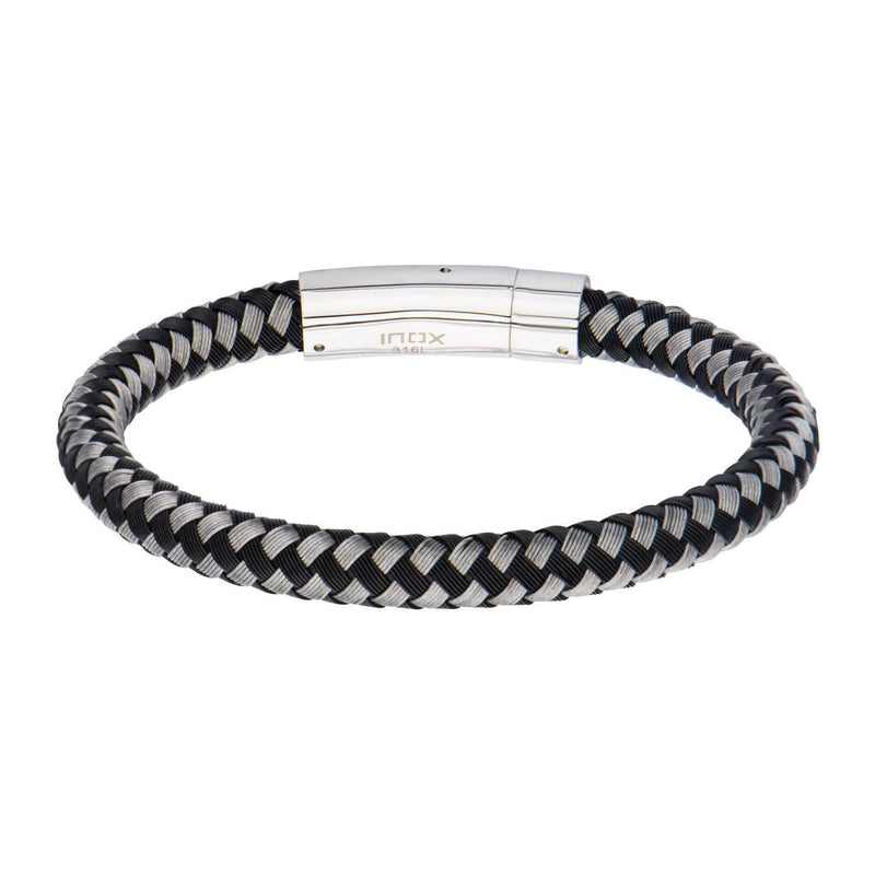 Black and White Thread Braided Woven Bracelet - Bijouterie en ligne - 1