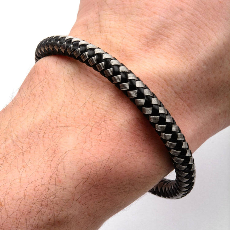 Black and White Thread Braided Woven Bracelet - Bijouterie en ligne - 4