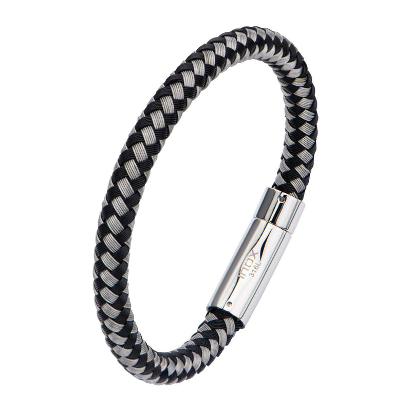 Black and White Thread Braided Woven Bracelet - Bijouterie en ligne - 2