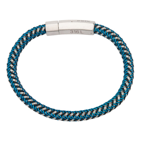 Mix Blue,Black and White Woven Rubber Bracelet - Bijouterie en ligne