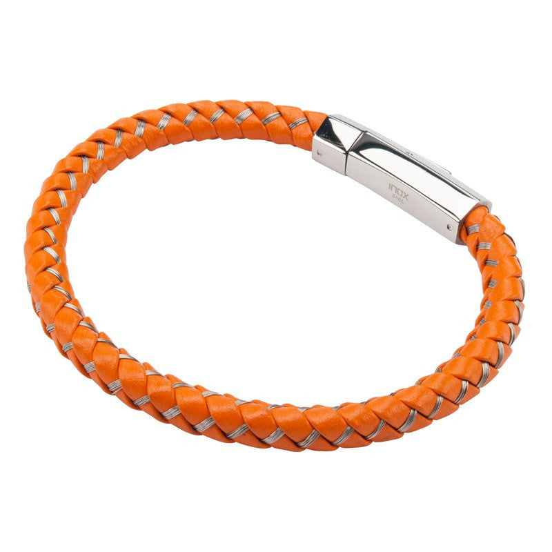 Mix Orange Woven Leather Bracelet - Bijouterie en ligne - 3