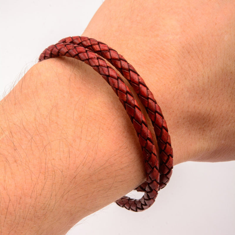 Double Round Red Braided Italian Antique leather Bracelet - Bijouterie en ligne - 4