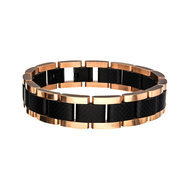 Black and Rose Gold IP with Carbon Fiber Link Bracelet