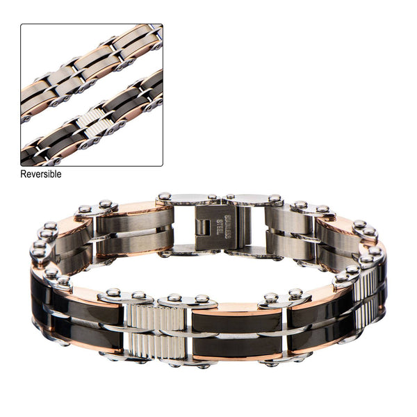 Black & Rose Gold IP Reversible Bracelet - Bijouterie en ligne - 1