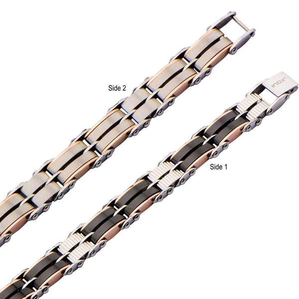 Black & Rose Gold IP Reversible Bracelet - Bijouterie en ligne - 2