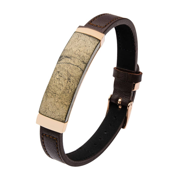Chalcopyrite Brown Leather and Rose Gold IP Bracelet with Belt Buckle Clasp