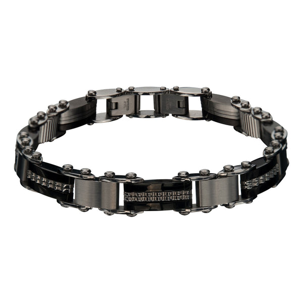 Double Sided Bar and IP Black Edge Bracelet - Bijouterie en ligne - 1