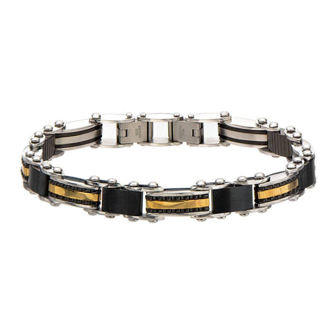 Double Sided Steel, Black & Rose Gold IP Bracelet - Bijouterie en ligne - 1